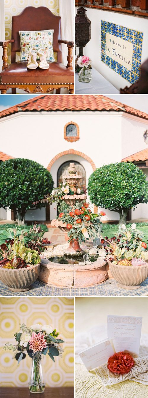 Romantic Spanish old-california wedding decor at La Familia Ranch in San Luis Obispo, CA
