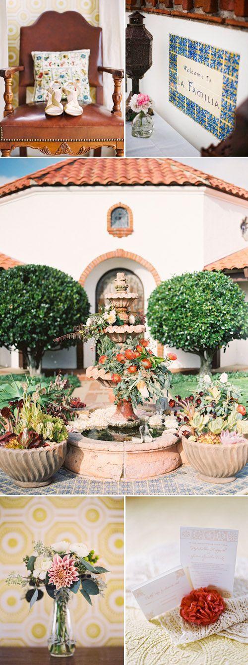Romantic Spanish old-california wedding decor at La Familia Ranch in San Luis Obispo, CA