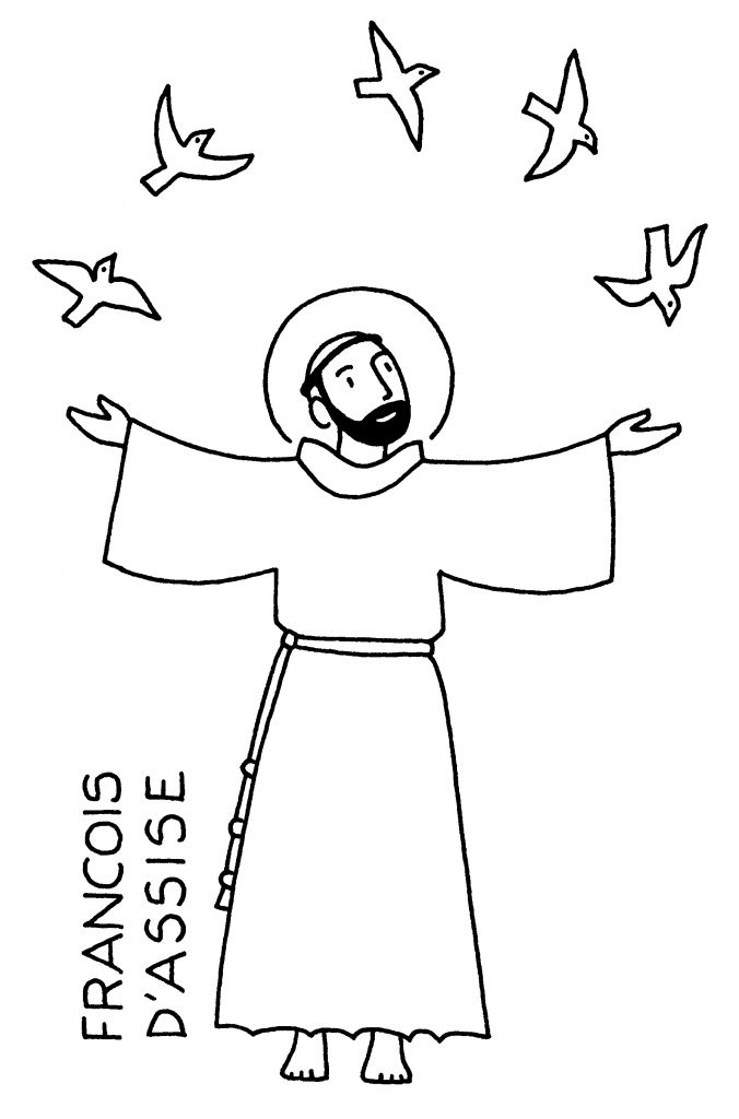 St Francis of Assisi coloring page: