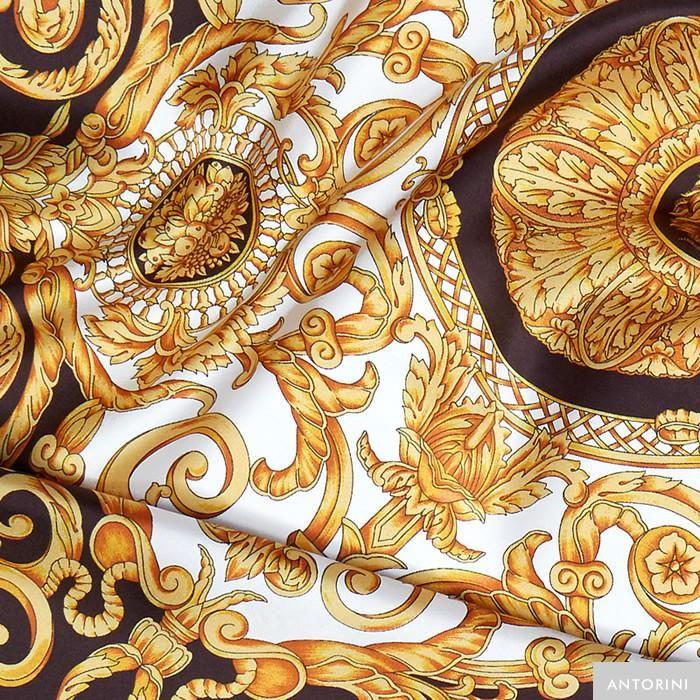 ANTORINI Vintage Silk Scarf in Brown