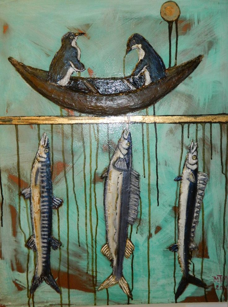 """Fishing NZ""    By New Zealand Artist Maria Middlebrook-Wells   $818 NZD  715mm x 560mm    See more of her work here  http://coolstoregallery.co.nz/MariaMiddlebrook-Wells.htm"