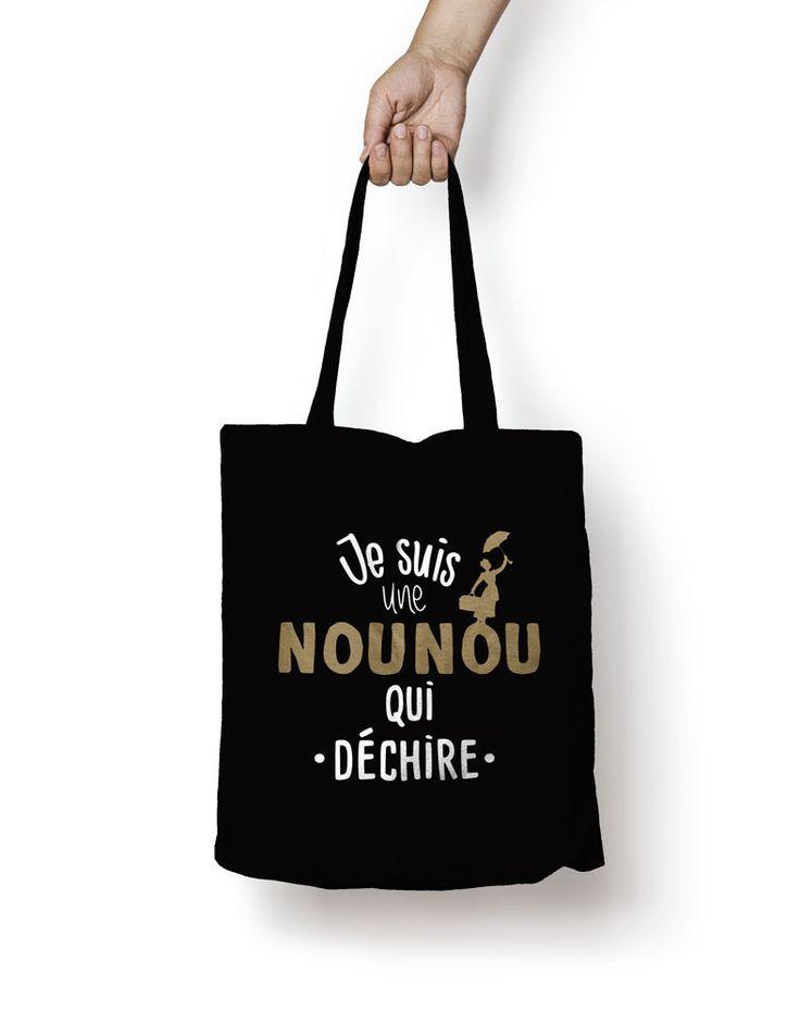 """Personnalisable sac shopping , sac de cours noir """"Une nounou qui dechire"""" : Sacs bandoulière par creatike"""
