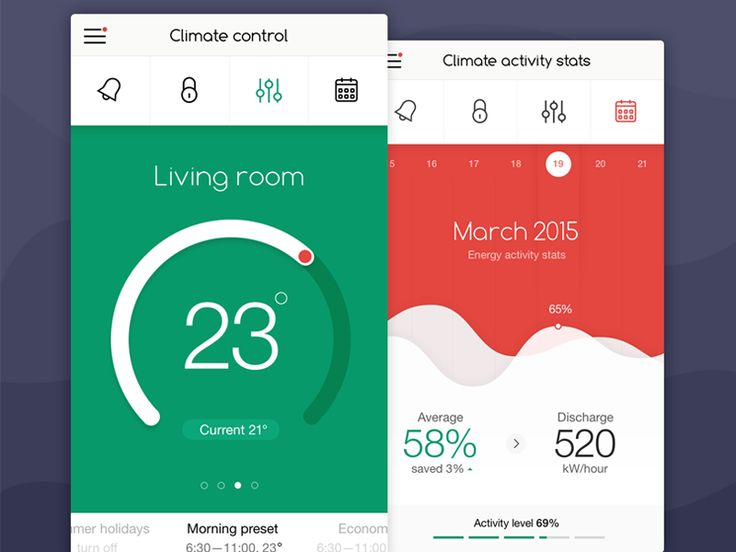 Here're a few screens for home climate control app. Check out the details in the attachment :)