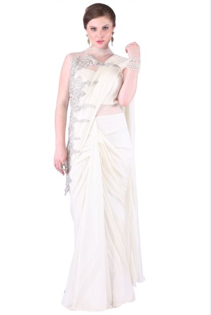 White Georgette Drape Saree