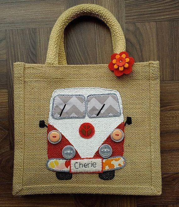 Jute personalised campervan bag medium size by JENNYEDDENDESIGNS