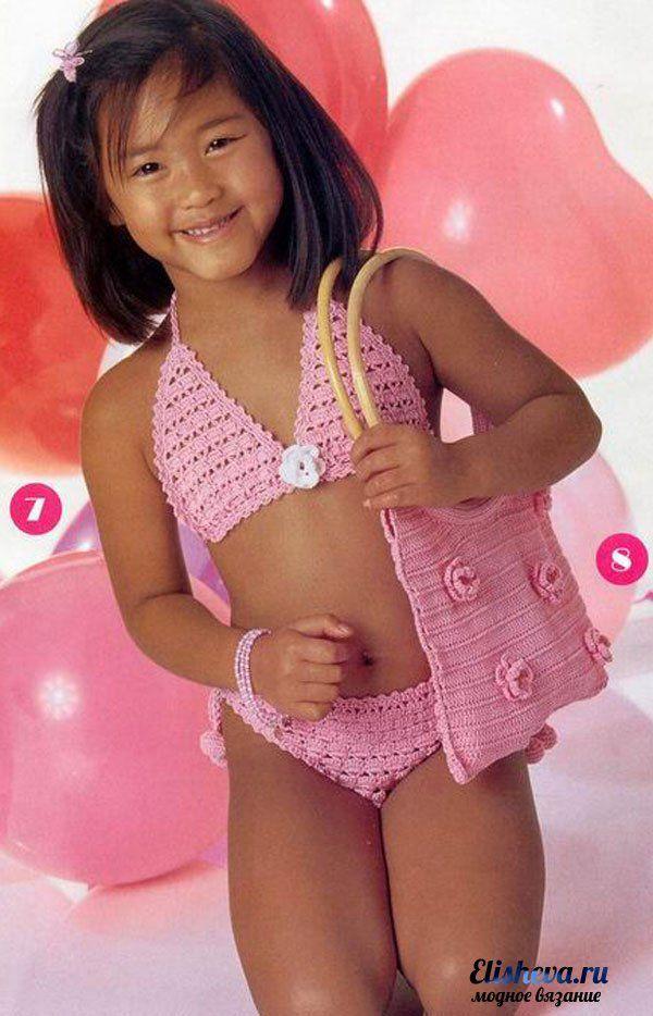 traje de baño de color rosa para las niñas de punto | Blog elisheva.ru