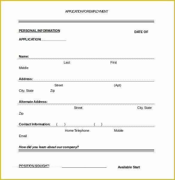 Free Job Application Template Word Document Of Job Application