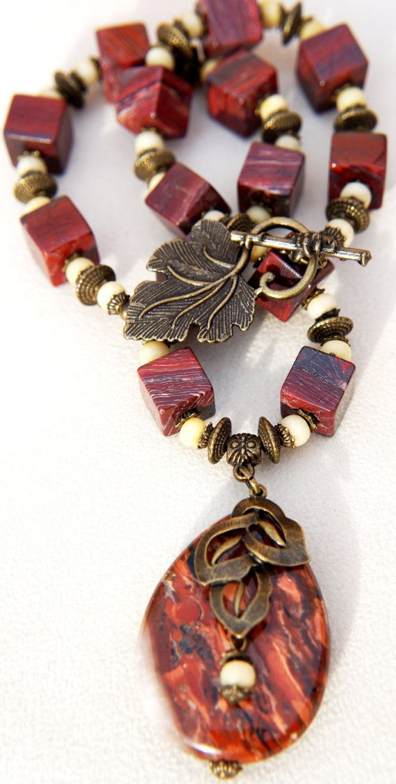 Red Jasper and  Agate Necklace Natural от GemstoneArtbyEditaK