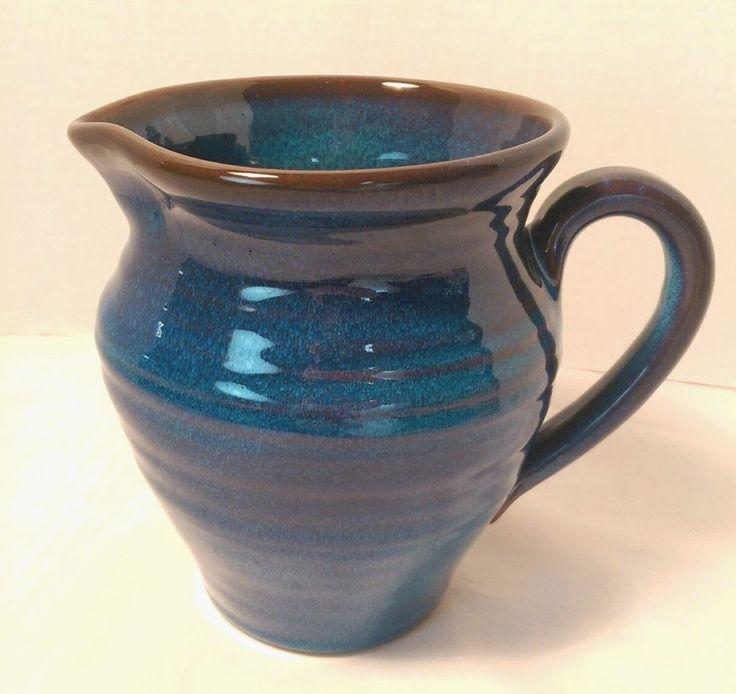 Rackliffe Art Pottery Pitcher Blue Hill Maine PITCHER Jug Blue Glaze Seacoast #pottery #RackliffePottery