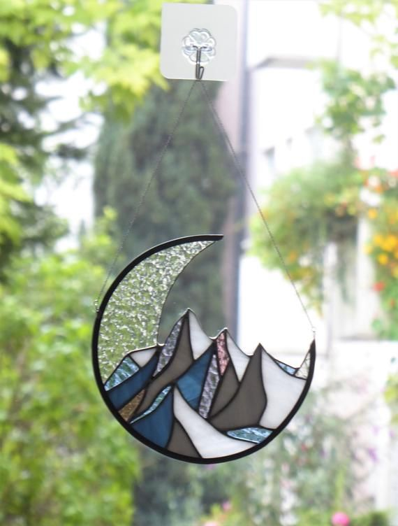 Stained Glass Mountains Suncatcher Window Hangings Moon Panel