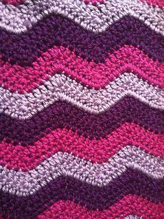 """Rustic Ripple Afghan (3 colors)-Lion Brand Hometown USA yarn (9 skeins), N hook, 36"""" x 29"""" (each ripple = approx. 6"""")"""
