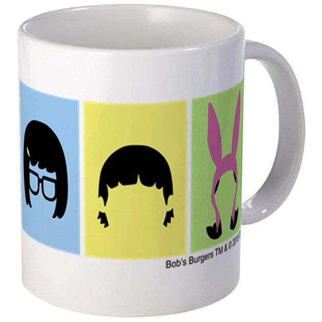 This Bob's Burgers design features the hair silhouettes in multicolored squares of the Belcher family, including Bob, Linda, Tina, Gene, and Louise.