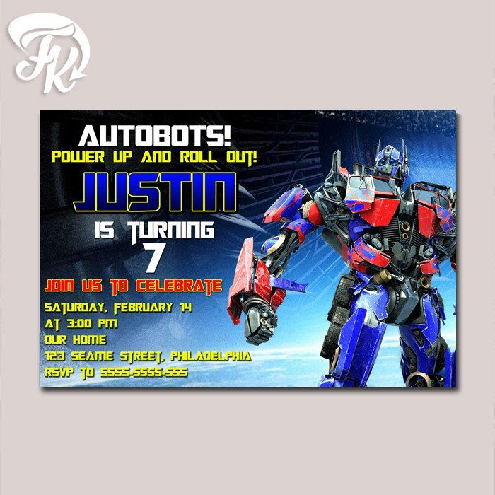 optimus prime transformer birthday party card digital invitation kid birthday u2026