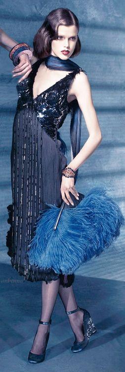 Louis Vuitton navy blue flapper style retro dress