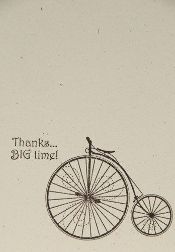 Vintage Penny Farthing BIG Thanks Thank You Handcrafted Card
