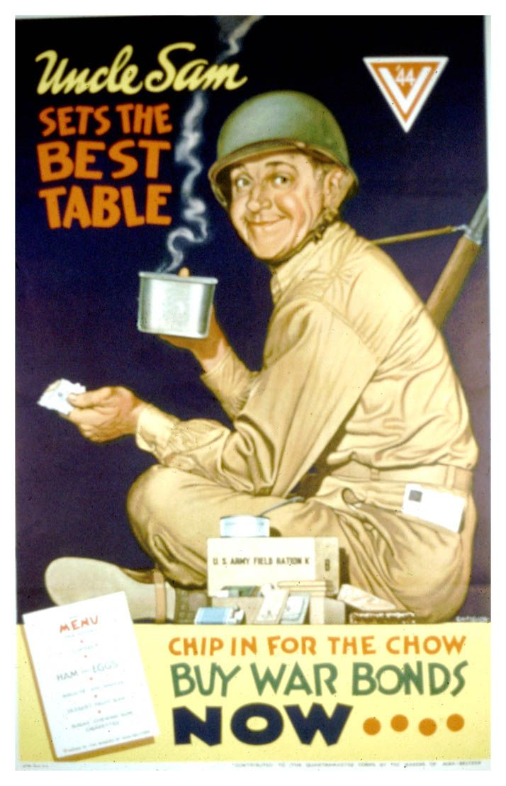 """""""Uncle Sam Set's The Best Table"""" ~ WWII ad for War Bonds, 1944. Sophomores set the best table ...buy prom tickets now!"""