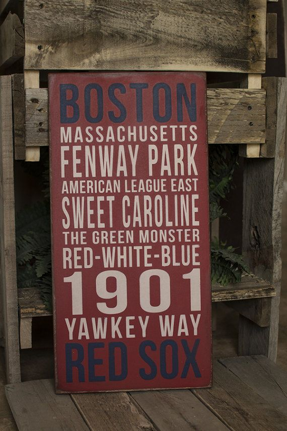 This Boston Red Sox sign is painted on a red, distressed background. It comes with a sawtooth hanger attached to the back, and is ready to hang. This sign does NOT have a sealant on it, and is not recommended for outdoors.  DETAILS: • white and blue on red background • made of Baltic Birch • 5/8 thickness • 10 (w) x 20 (h)  I do accept orders for custom variations on size and color. *Price will vary on custom orders.  PLEASE NOTE: No two signs will be EXACTLY alike. Each one is painted a...