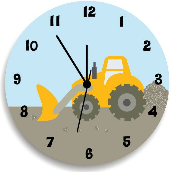 Boys Bedroom Wall Clock, Construction Nursery Room Decor