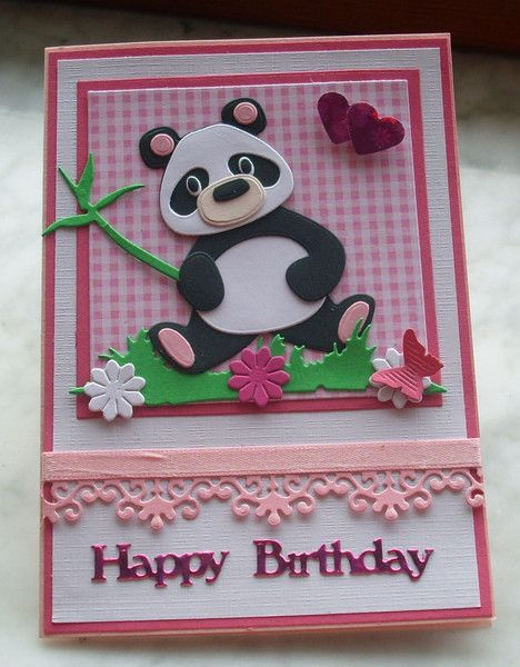 Glückwunschkarten - Glückwunschkarte zum Geburtstag mit Pandabär - ein Designerstück von Wollzottel bei DaWanda