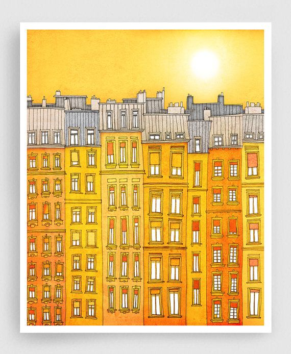 Yellow facade - Paris illustration Art Print