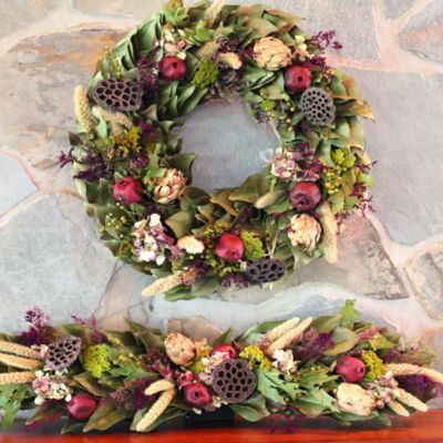 The Napa Harvest Wreath & MantelpieceMagnolias Company, Magnolias Wreaths, Harvest Wreaths, Big Wreaths, Wreaths Personalized, Thanksgiving Decor, Artificial Wreaths, Napa Harvest, Dry Wreaths