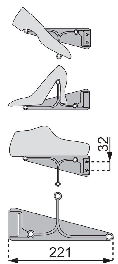 porte-chaussures servetto - porte-chaussures reglable tac - Quincaillerie LBA Thivel: bâtiment - menuiserie - ameublement - agencement - outillage.