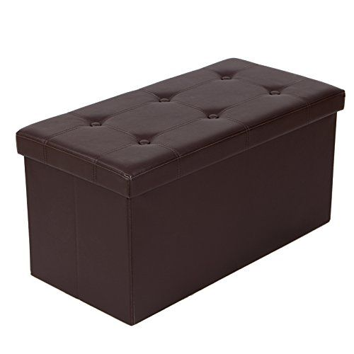 Songmics faux leather folding storage ottoman bench brown for Foot storage ottoman