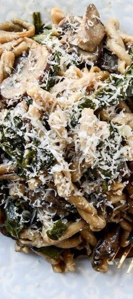One Pot Mushroom and Swiss Chard Pasta | How Sweet It Is