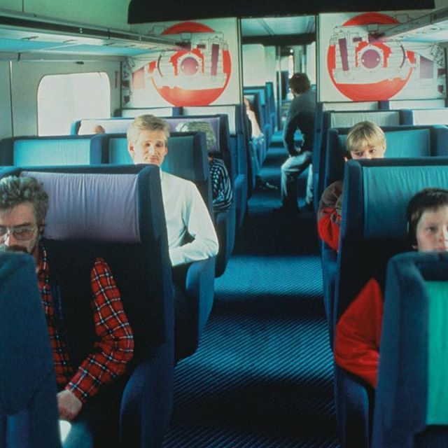 A colourful train ride. Back in 1987 when Nanna Ditzel's Hallingdal upholstery clad the seats of DSB Danish National Railway. #nannaditzel #kvadrattextiles #heritage #archives #blue #lovecolour #design #danishdesign #kvadrat #railway