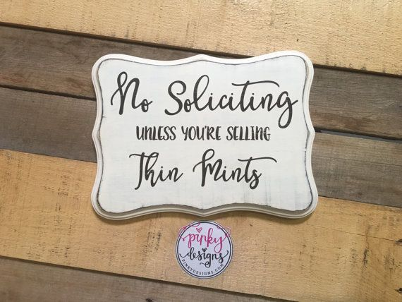 Tired of those solicitors coming to you door and wont take NO for an answer? Buy our No Soliciting Sign.  SIGN INFO: All of our signs are hand painted, no vinyl used. They are lightly distressed to give it a rustic look. Its not uncommon for there to be knots, cracks, various imperfections in the finished product, as this adds character to the sign. SIZE: 9 H X 12 W  SIGN COLOR AND LETTERING: Colors can be customized, please see color chart.  BACK OF SIGN: Finished and stamped with Pinky…