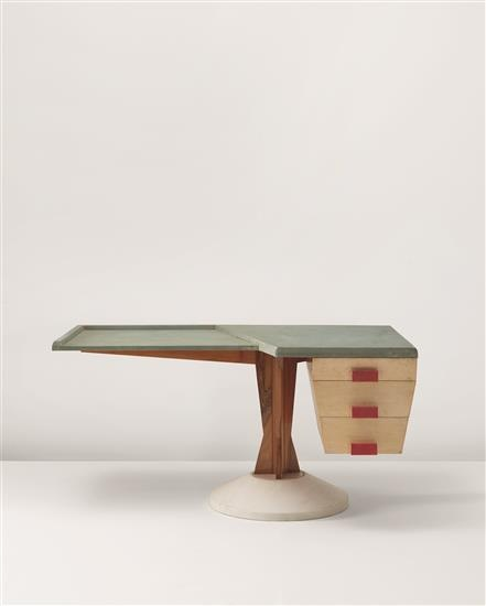 Franco Albini; Walnut, Ash, Carrara Marble and Felt Desk for Altamira, c1953.