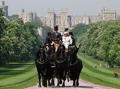 A Striking Display Of Black Horses Parading At The Front Picturesque Setting Windsor