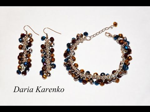 (3) DIY Шикарный браслет и серьги из стеклянных бусин. Мастер класс \ Bracelet and earrings of beads - YouTube