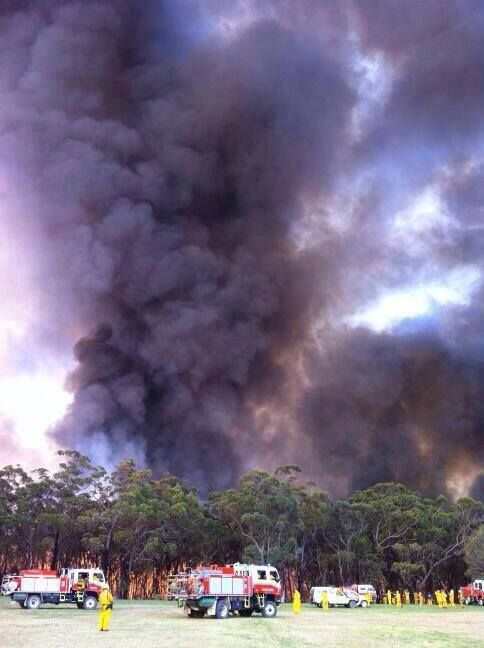 NSWRFS Crews fighting the Springwood (Blue Mountains, NSW) fire near the St. Columba's School - 19/10/13