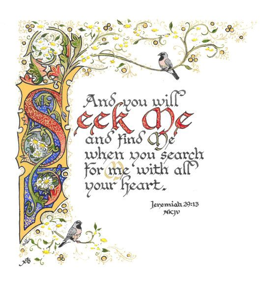 Illuminated Calligraphy Laminated Print  Seek Me 2013 by angelworx, $5.00