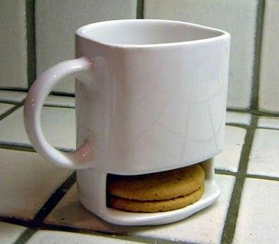 Cookie compartment in a cup!: Ideas, Coff Mugs, Cookies Cups, Stuff, Mugs Design, Teas, Coffee, Products, Biscuits