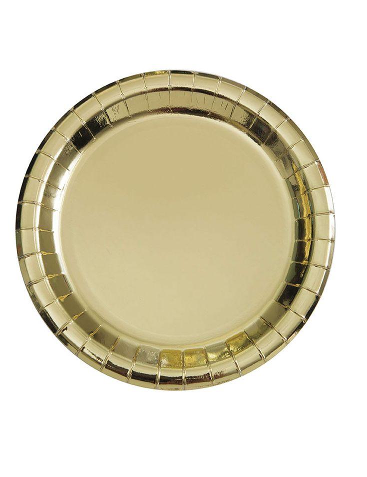 8 piatti in cartone oro metallizzato 23 cm su VegaooParty, negozio di articoli per feste. Scopri il maggior catalogo di addobbi e decorazioni per feste del web,  sempre al miglior prezzo!