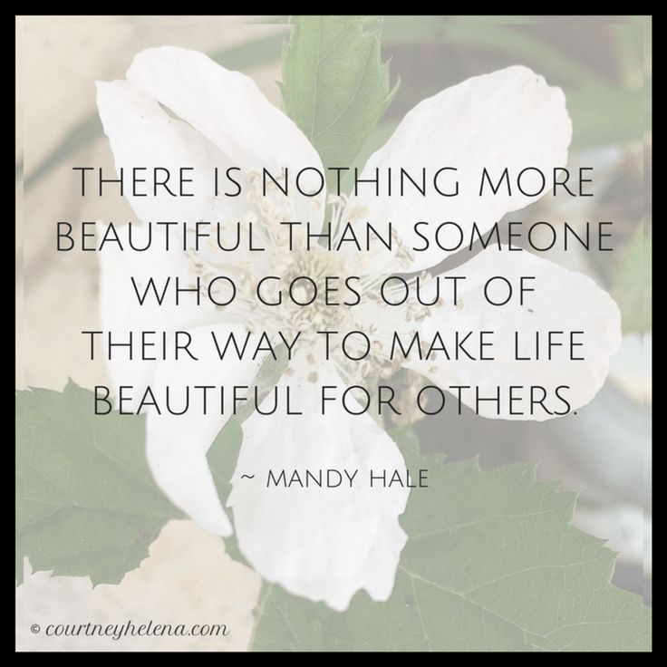 """There is nothing more beautiful than someone who goes out of their way to make life beautiful for others."" - Mandy Hale"