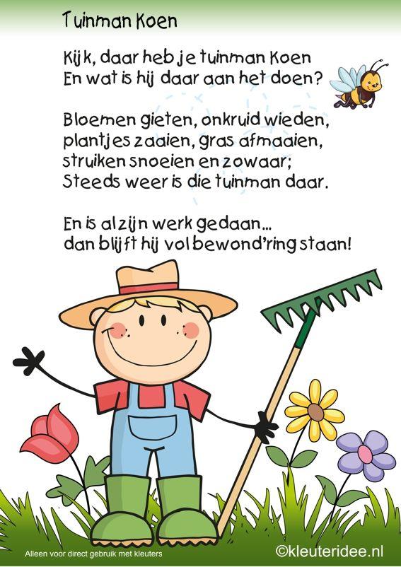 Versje tuinman Koen, thema tuincentrum, kleuteridee , free printable.