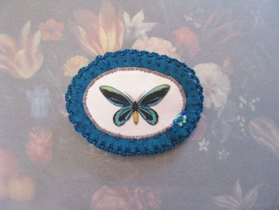 SALE - teal butterfly felt brooch - mariposa - natural history - butterfly print - free shipping - mothersday gift
