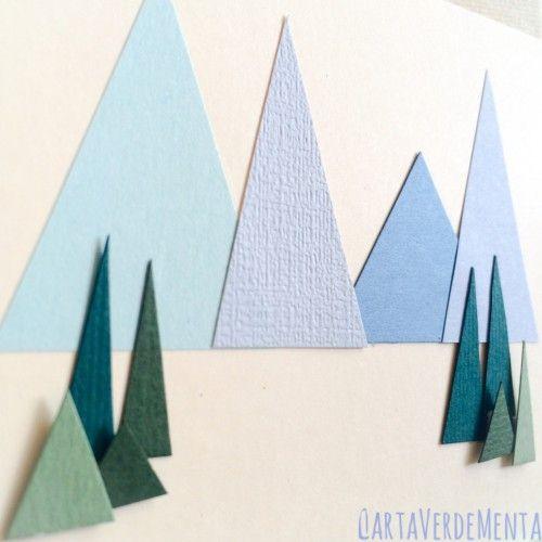 Card con paesaggio di montagna  di CartaVerdeMenta  #card #papercraft #papercrafts #stamping #auguri #mountains #crafting #DYI # hobby