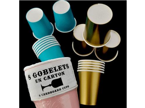 Set de 8 gobelets en carton pour décoration table d'anniversaire