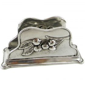 Napkin holder Cherries Napkin holder of pewter with cherries motif. #madeinitaly #artigianato #pewter #peltro