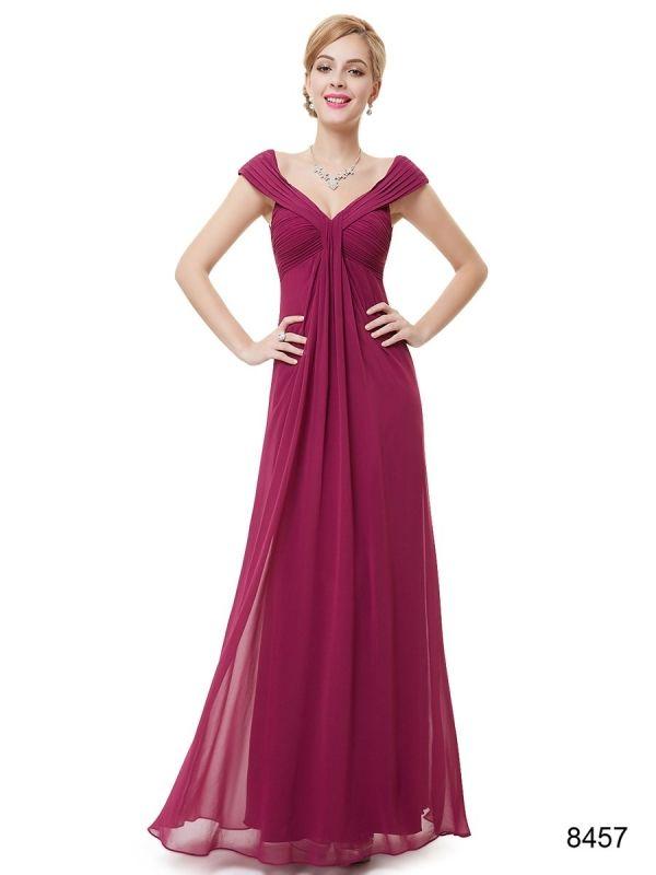 胸元がSEXYなVネック グレープカラーのロングドレス - ロングドレス・パーティードレスはGN|演奏会や結婚式に大活躍!