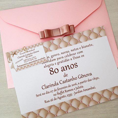 Simples e delicado! 80 primaveras! #convitesespeciais #convite80anos #convite #festa80anos #tema80anos