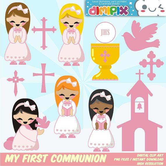 Mi Primera Comunión - Confirmación (niña) / Clipart Set / Party Kit printable / imagenes digitales descarga instantanea