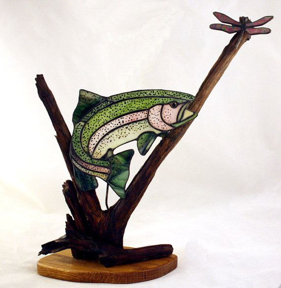 Rainbow Trout with Dragonfly Stained Glass Art with Wood Sculpture on Etsy, $99.00