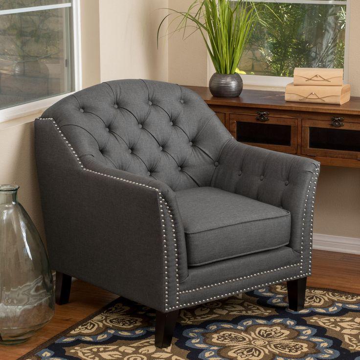 Contemporary Button Tufted Dark Gray Fabric Club Chair