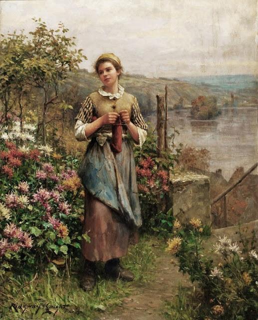 """Young Woman Knitting"" by Daniel Ridgway Knight"