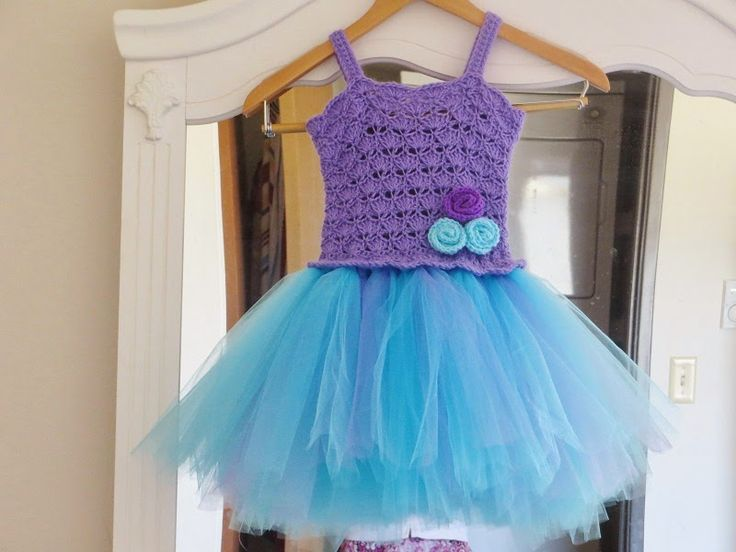 This is my latest crochet pattern and I love it so much. The tulle is not stitched but tied in to crocheted...